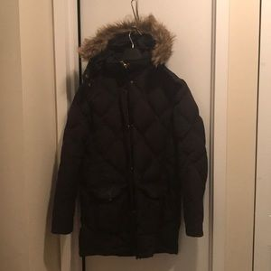 Lands' End Down Jacket with Faux Fur Hood